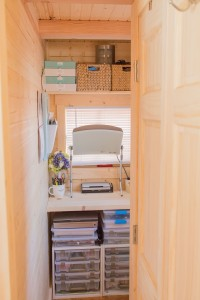 This is my office space. I have tons of storage for my scrapbooking supplies, sewing stuff and desk supplies.